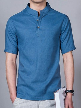 Ericdress Plain Stand Collar Linen Men's Shirt