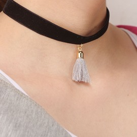 Tassel Pendant Black Flannelette Necklace