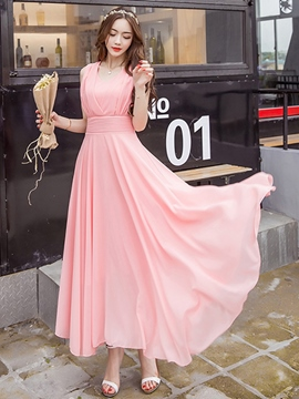 Ericdress Sleeveless Expansion Lace-Up Maxi Dress