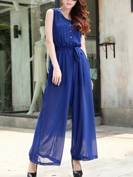 Ericdress Solid Color Long Jumpsuits Pants