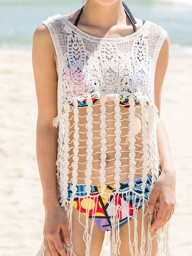 Ericdress White Knit Jacquard Tassel Cover-Up