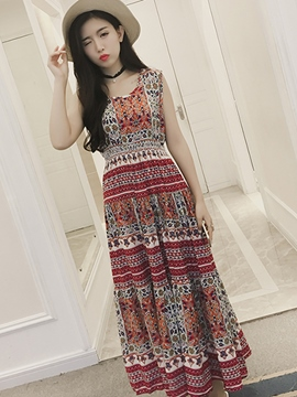 Ericdress Boho Sleeveless Print Maxi Dress