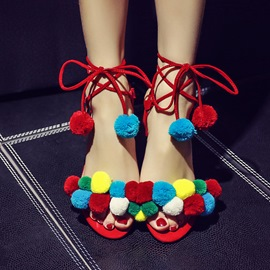 Ericdress Color Block Open Toe Lace-Up Slingback Strap Chunky Sandals