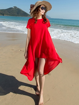 Ericdress Solid Color Asymmetric Casual Dress