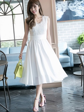 Ericdress Ladylike Solid Color Expansion Casual Dress