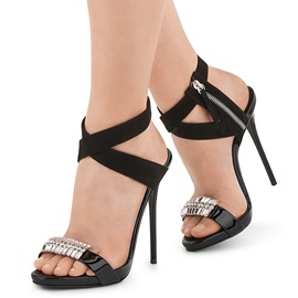 Ericdress Rhinestone Cross Strappy Stiletto Sandals