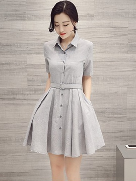 Ericdress Solid Color Polo Neck Single-Breasted Belt Casual Dress