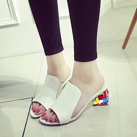 Ericdress Colorful Crystal Peep Toe Mules Shoes