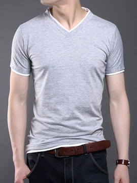 Ericdress Plain V-Neck Short Sleeve Casual Men's T-Shirt