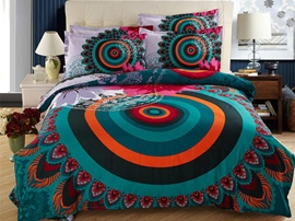 Ericdress Ethnic Peacock Feather Print Cotton Bedding Sets
