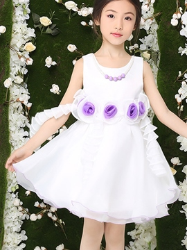 Ericdress Sleeveless Falbala Pleated Girls Dress