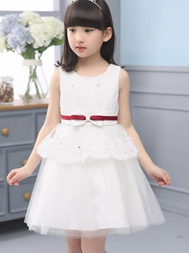 Ericdress Sleeveless Lace Girls Dress