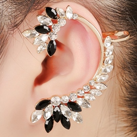 Black and White Rhinestone Ear Cuff
