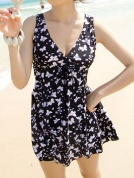 Ericdress V-Neck Halt Plus Szie Star Print Swimwear