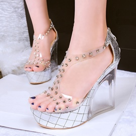 Ericdress Transparent Rivets Decorated Wedge Sandals