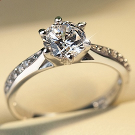 S925 Silver Diamond Wedding Ring