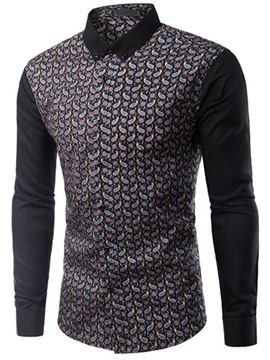 Ericdress Color Block Print Slim Fit Men's Shirt