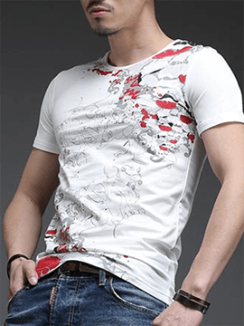 Ericdress Floral Print Slim Fit Short Sleeve Men's T-Shirt