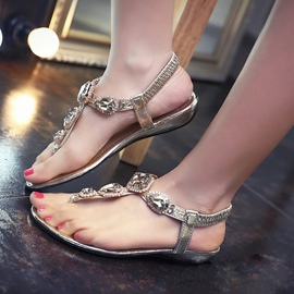Ericdress Roman Crystal Thong Flat Sandals