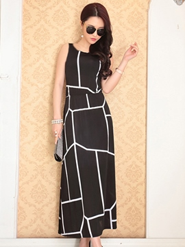 Ericdress Classical Print Long Dress
