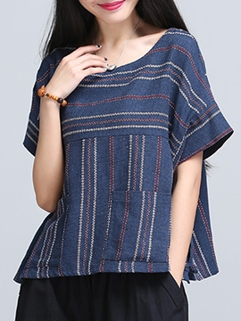 Ericdress Loose Round Collar Stripped Blouse