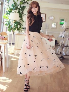 Ericdress Embroidery Color Block Patchwork Single-Breasted Maxi Dress