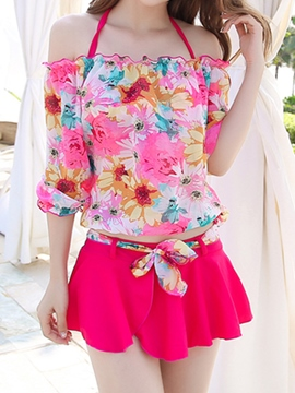 Ericdress Chiffon Printed Sweet Three-Piece of Swimwear