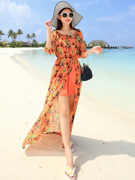 Ericdress Print Split Cold Shoulder Maxi Dress