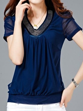 Ericdress Slim V-Neck Mesh Patchwork Blouse