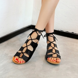 Ericdress Cut Out Lace up Open Toe Flat Sandals