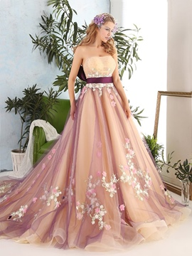 Ericdress Flowers Beading Sashes Strapless Court Train Floor Length Ball Gown Dress