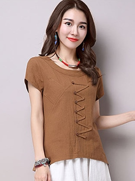 Ericdress Solid Color Button Casual Blouse