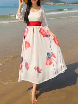 Ericdress Flower Print Lace-Up Vintage Maxi Dress