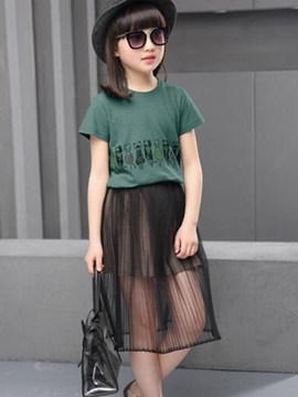 Ericdress Short Sleeve Girls Skirt Outfit