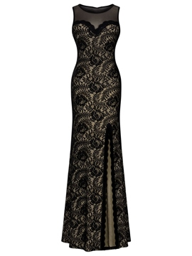 Ericdress Mermaid Scoop Lace Split-Front Floor-Length Evening Dress
