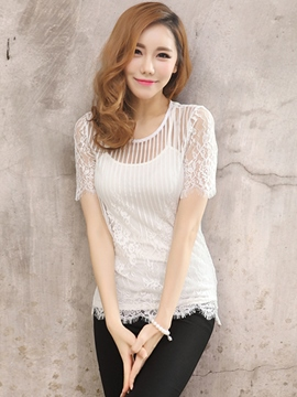 Ericdress Slim See-Through Lace Patchwork Blouse