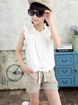 Ericdress Hollow Shirt Girls Shorts Outfit
