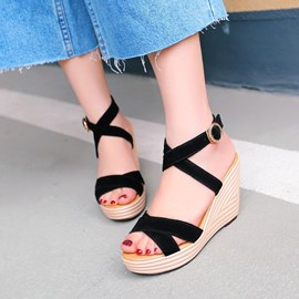 Ericdress Roman Cross Strap Wedge Sandals