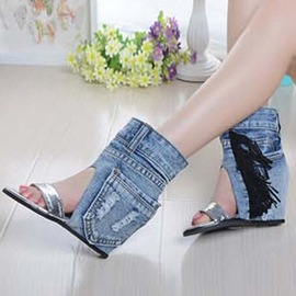 Ericdress Denim Tassels Wedge Sandals