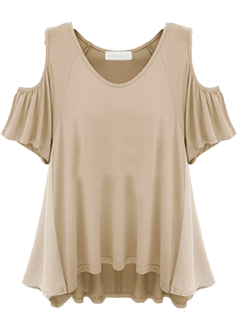 Ericdress Casual Off-Shoulder Solid Color T-Shirt