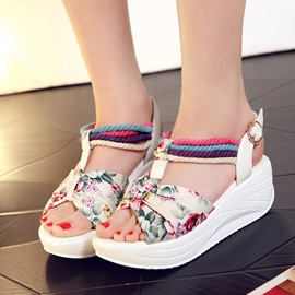 Ericdress Floral Printed Buckles Wedge Sandals