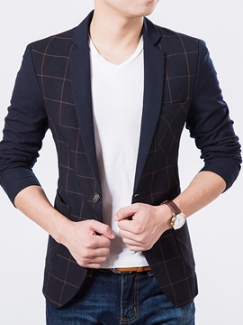 Ericdress Plaid Slim Classic One Button Men's Blazer
