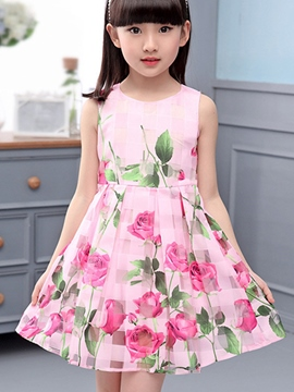Ericdress Floral Print Sleeveless Girl Dress