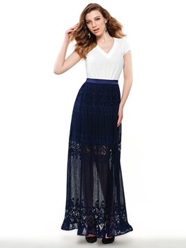 Sisjuly Ericdress V-Neck Lace Patchwork Maxi Dress