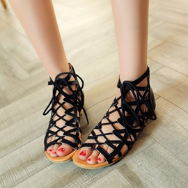 Ericdress Cut Out Strappy PU Lace-Up Flat Sandals