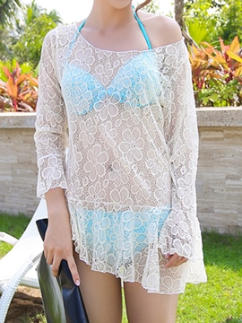 Ericdress Lace Patched Three-Piece of Bikini with Long Sleeve Cover-Up