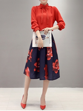 Ericdress Fashion Floral Print Skirt Suit