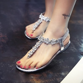 Ericdress Rhinestone Elastic Band Flat Sandals