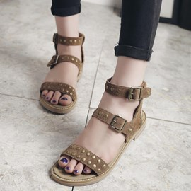 Ericdress Vintage Rivets Flat Sandals