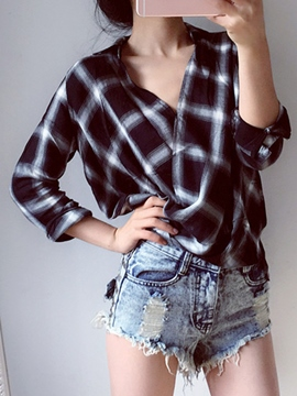 Ericdress Casual Asymmetric Plaid Blouse